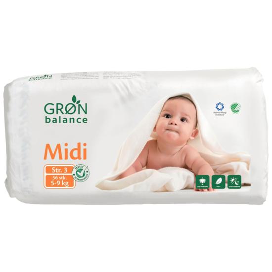 Gron Balance Pieluchy hipoalergiczne Midi 5-9 kg 56 szt.